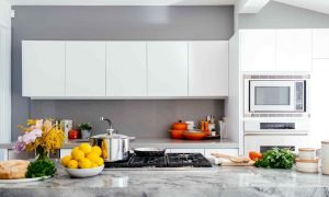 bright kitchen with kitchen tools