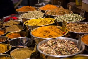 rows of spices